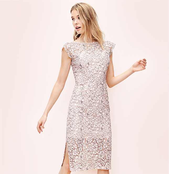 Jessica Simpson 2tone Floral Lace Midi Dress