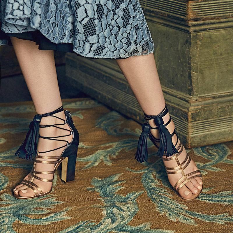 Jimmy Choo Diamond Tassel Lace-Up Sandals