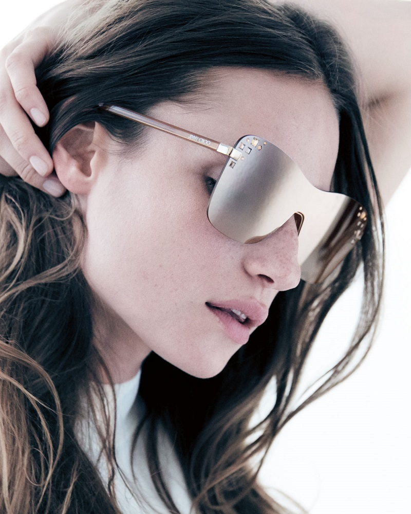 Jimmy Choo Masks Mirrored Swarovski Shield Sunglasses