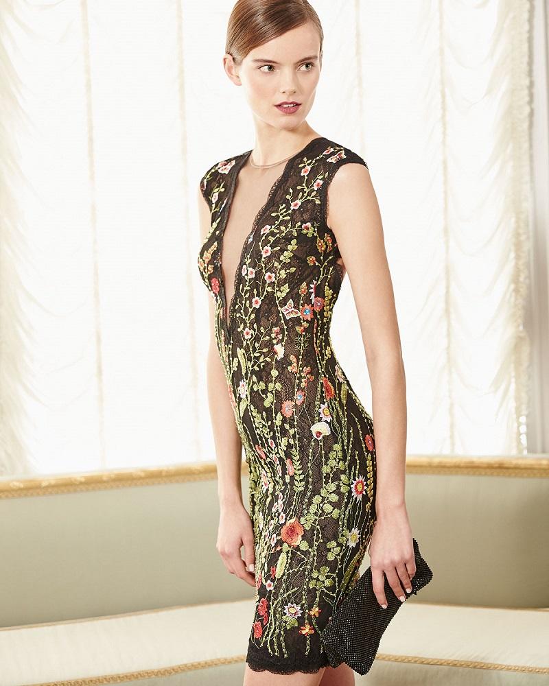 Jovani Cap-Sleeve Floral Open-Back Cocktail Dress