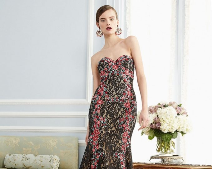 Jovani Strapless Embroidered Floral Lace Gown