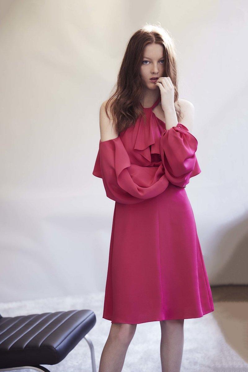 Kobi Halperin Janella Silk Cold-Shoulder Ruffle Cocktail Dress
