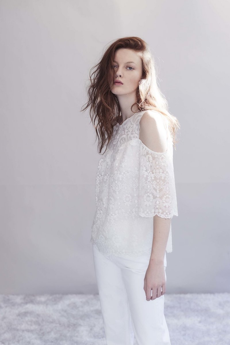 Kobi Halperin Klarissa Cold-Shoulder Lacy Silk Blouse