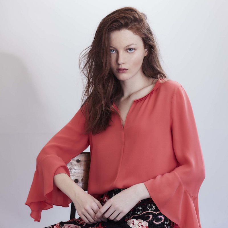 Kobi Halperin Shia Bell-Sleeve Silk Blouse