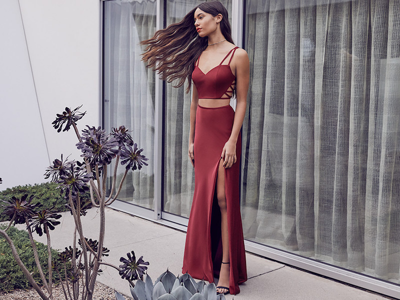 La Femme Cutout Two-Piece Gown