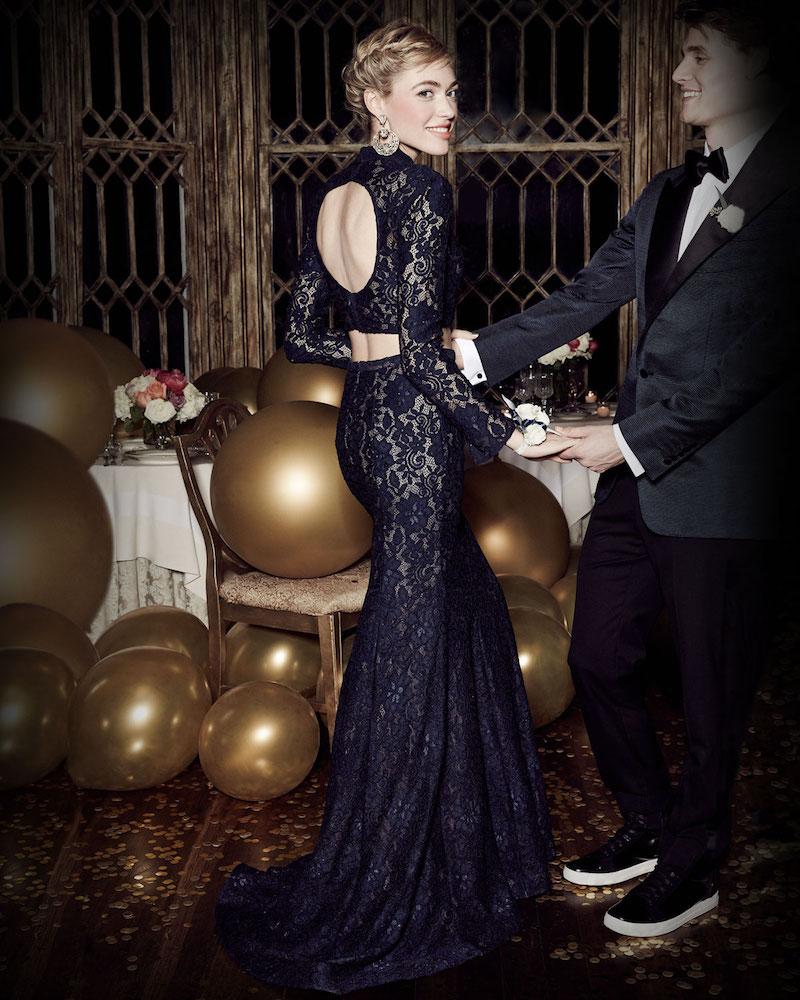 La Femme Long-Sleeve Beaded Lace Two-Piece Gown