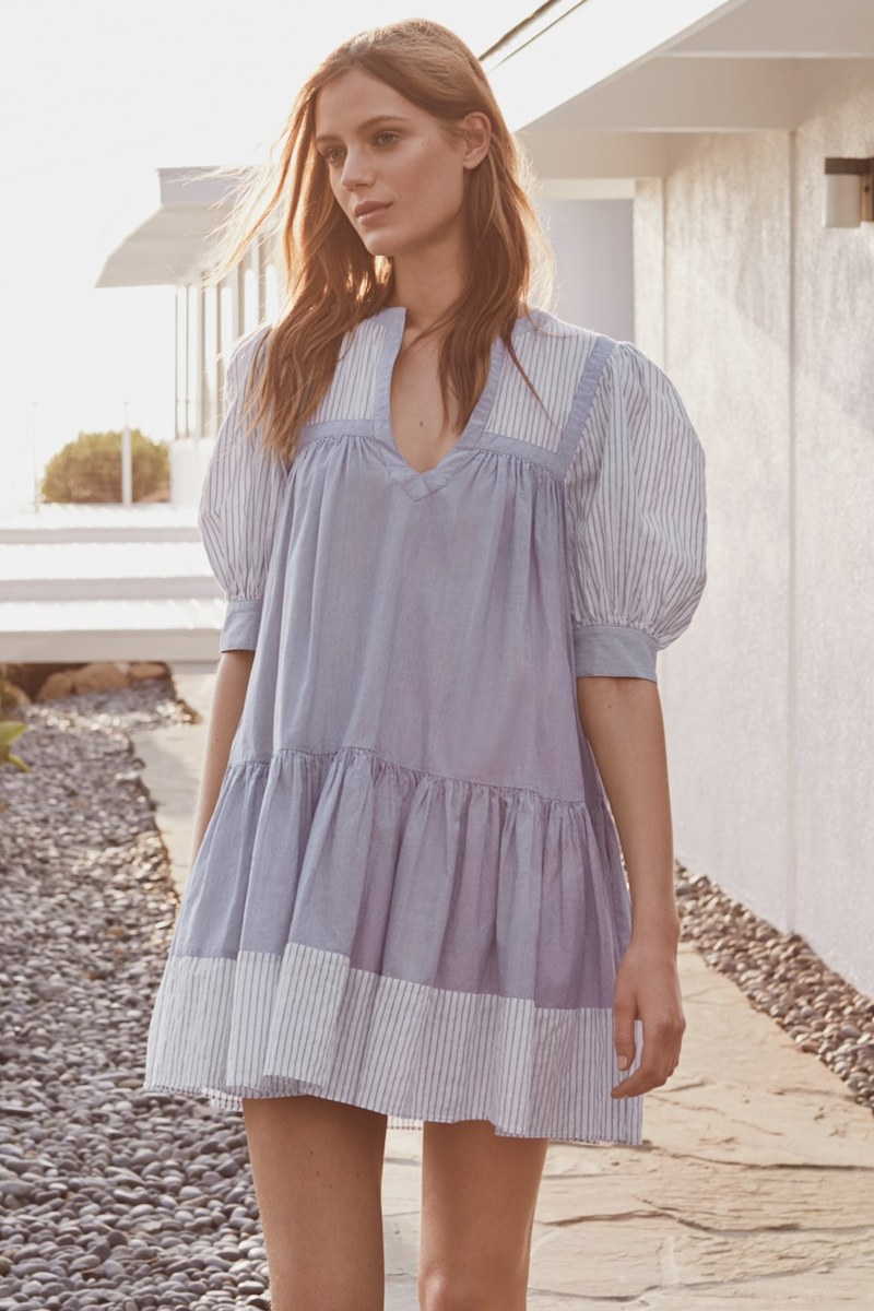 La Vie Rebecca Taylor Mixed Stripe Babydoll Dress