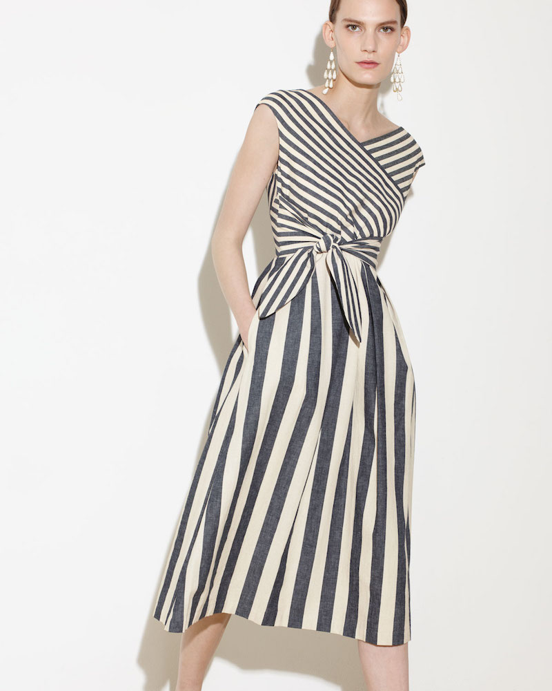 Lafayette 148 New York Cap-Sleeve Striped Tie-Waist Dress