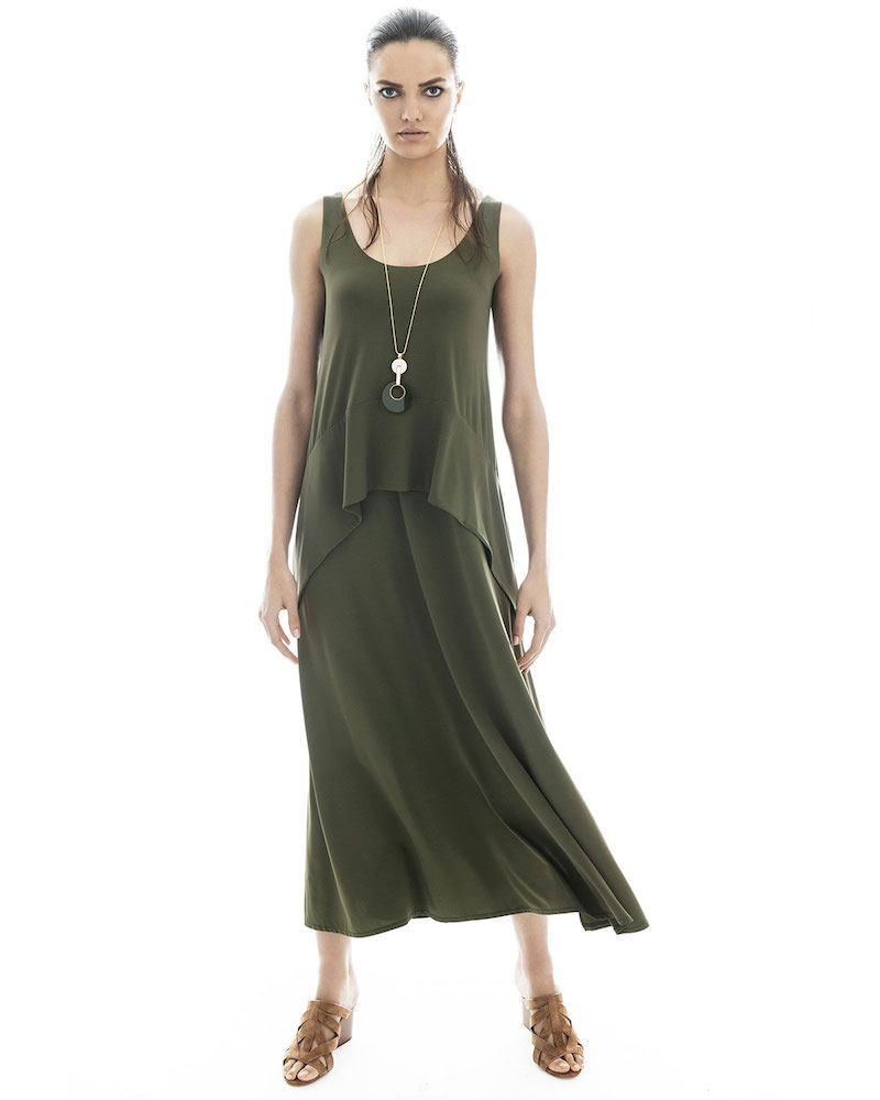 Lafayette 148 New York Long Cultivated Crepe Jersey Tank Dress
