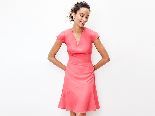 Lark & Ro Flutter-Sleeve V-Neck Fit-and-Flare Dress