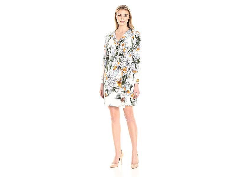 Lark & Ro Long Sleeve Printed Wrap Dress