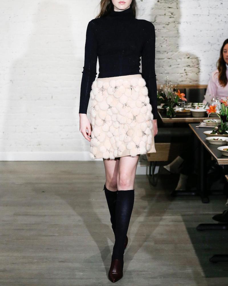 Lela Rose A-line Miniskirt with Embellished Mink Flowers