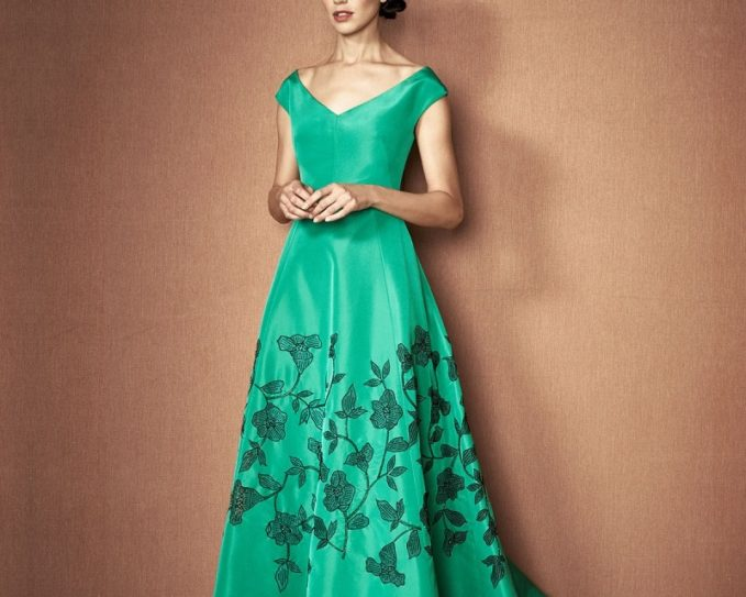 Lela Rose Embroidered Laser-Cut Cap-Sleeve Gown