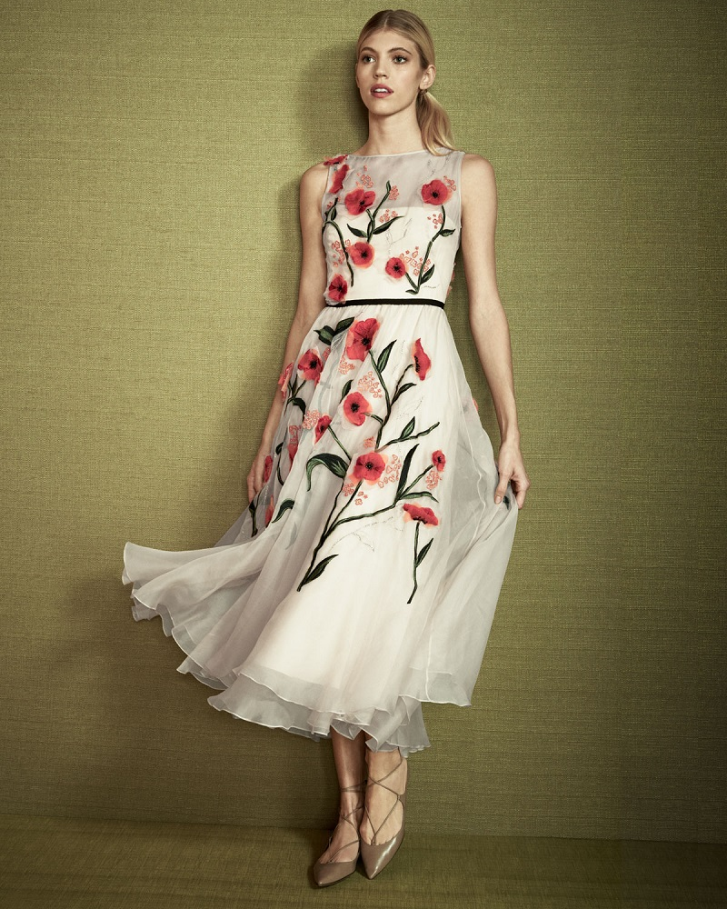Lela Rose Floral-Appliqué Sleeveless Midi Dress