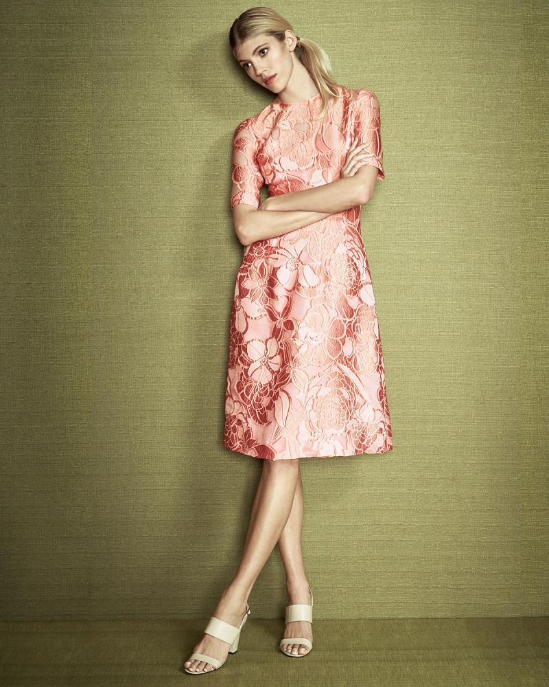 Lela Rose Floral Fil Coupe Half-Sleeve Dress