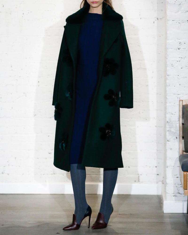 Lela Rose Long Coat with Mink Fur Flowers & Collar