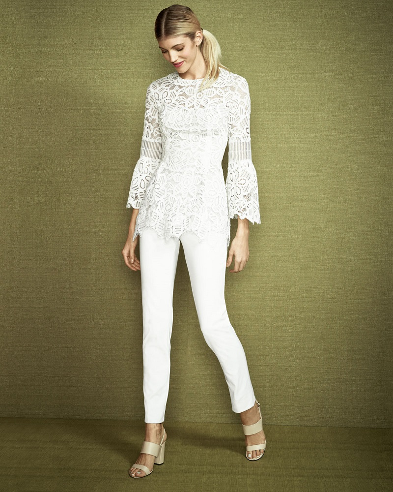 Lela Rose Long-Sleeve Corded Lace Top