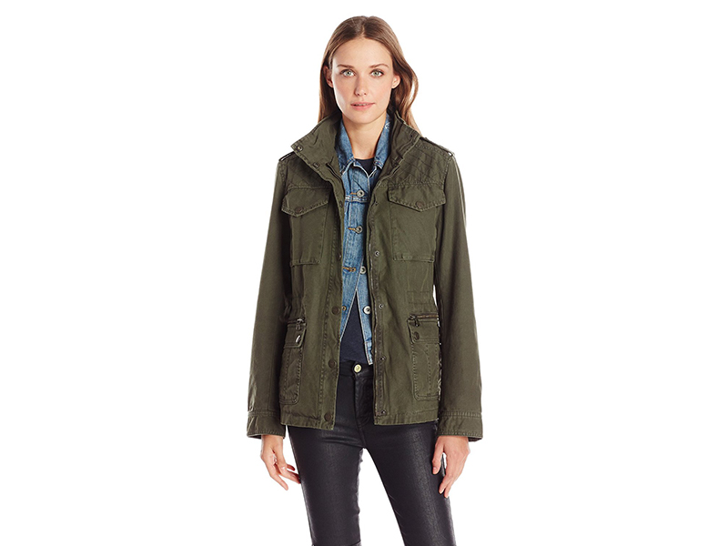 Levi's Cotton Four-Pocket Military Jacket with Shoulder Quilting