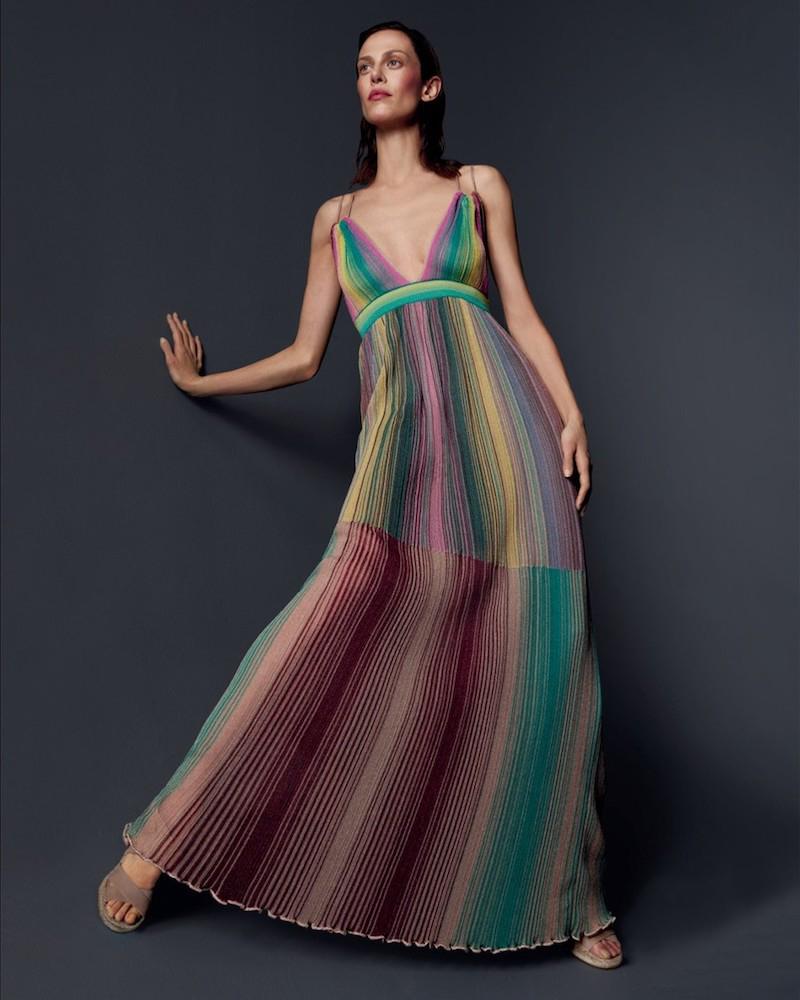 M Missoni Multicolored Striped Plisse Dress