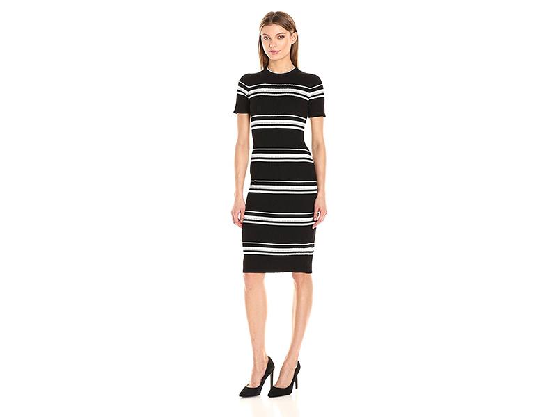 MINKPINK Stripe Rib Sweater Midi Dress