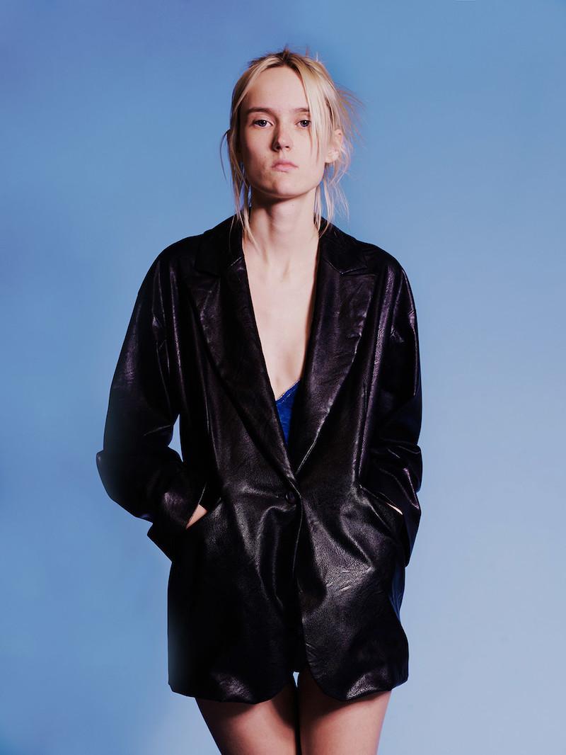 MM6 Maison Margiela Black Faux-Leather Jacket