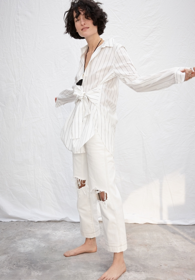 Madewell x Where I Was From Slim Straight Crop Jeans in White
