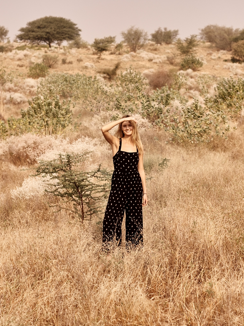 Madewell Smocked Crop Jumpsuit In Lilies Of The Valley