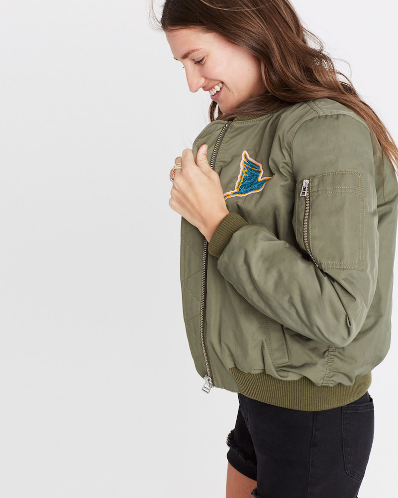 Madewell x Ft. Lonesome Embroidered Bomber Jacket