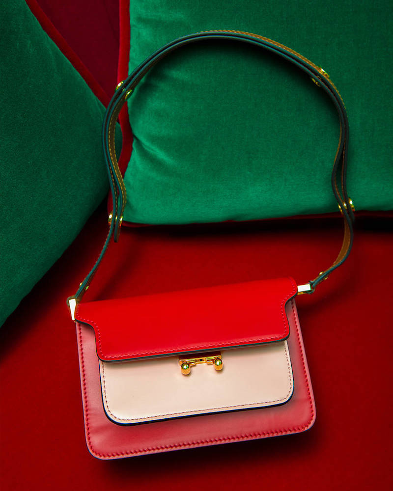 Marni Mini Trunk Bicolor Leather Bag
