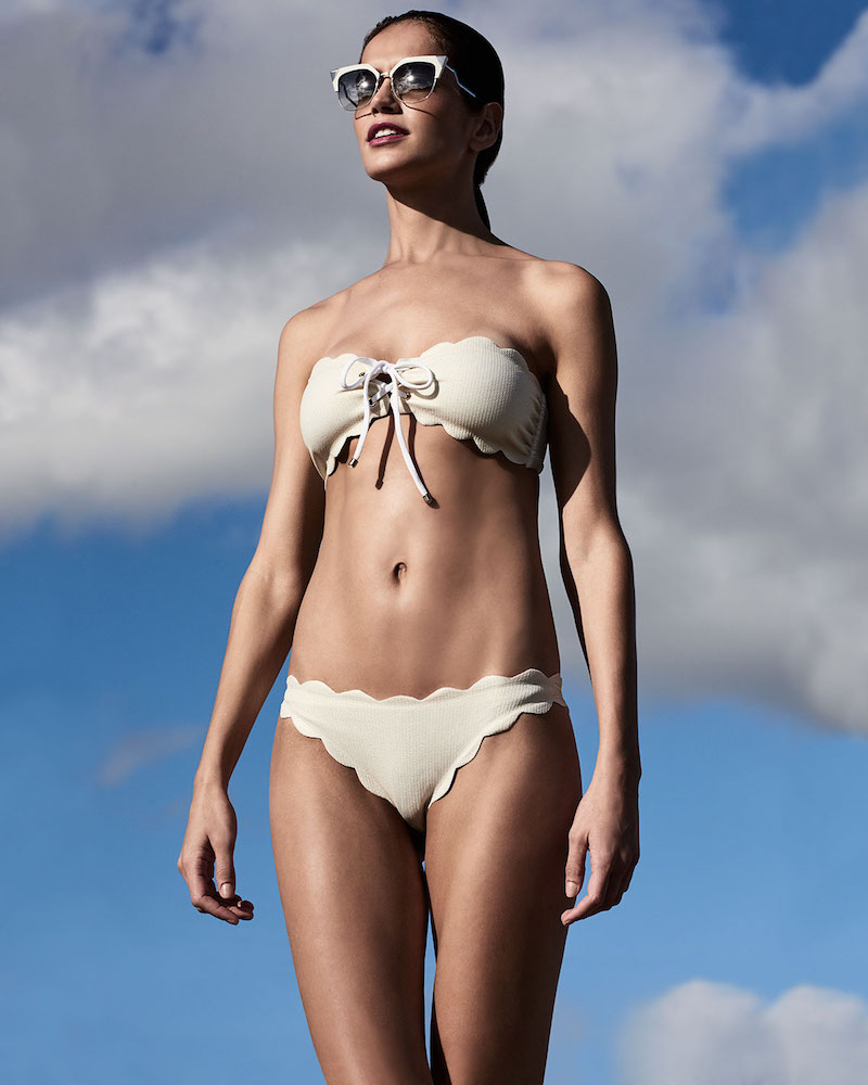 Marysia Antibes Lace-Up Scalloped Bandeau Swim Top