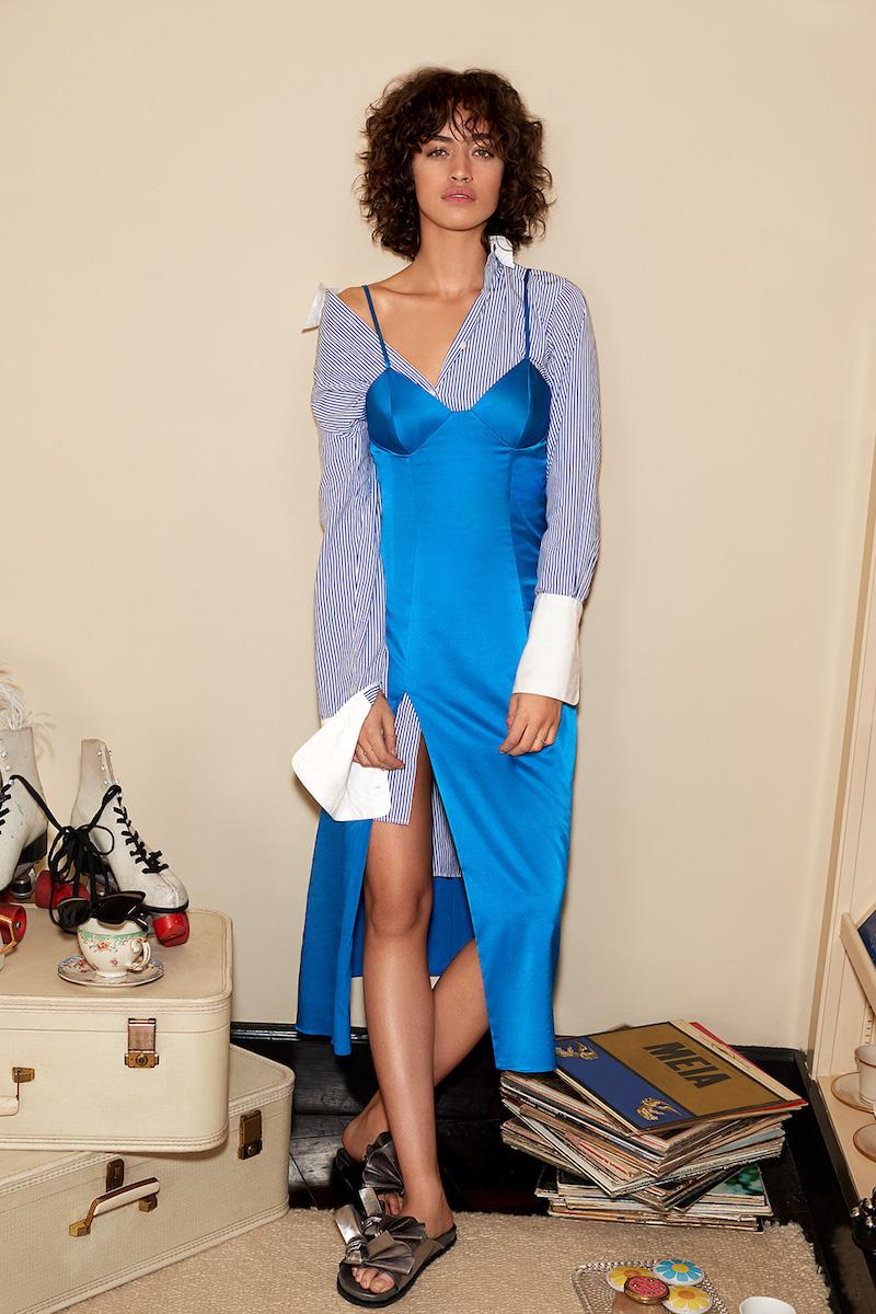 Michelle Mason Bustier Midi Dress with Slit