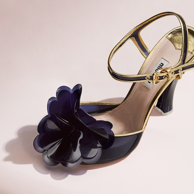 Miu Miu Vinyl-Flower Embellished Sandals