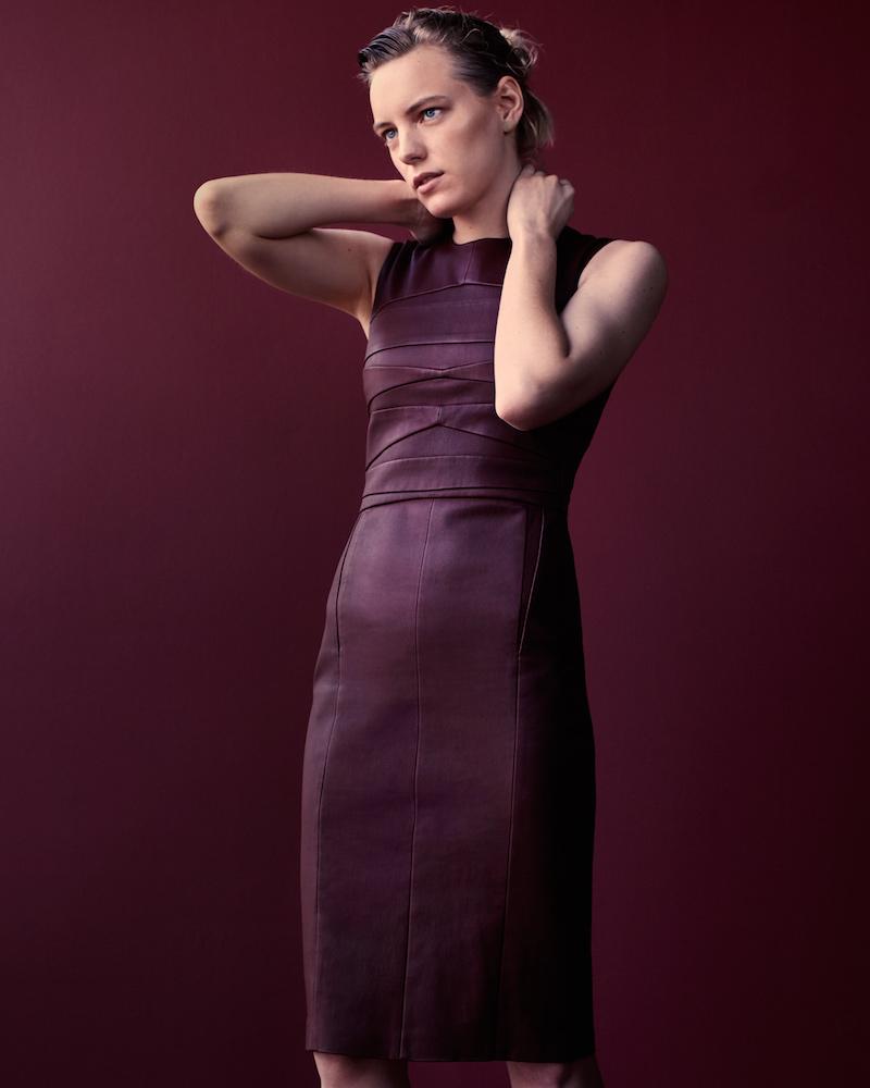 Narciso Rodriguez Leather Sleeveless Sheath Dress