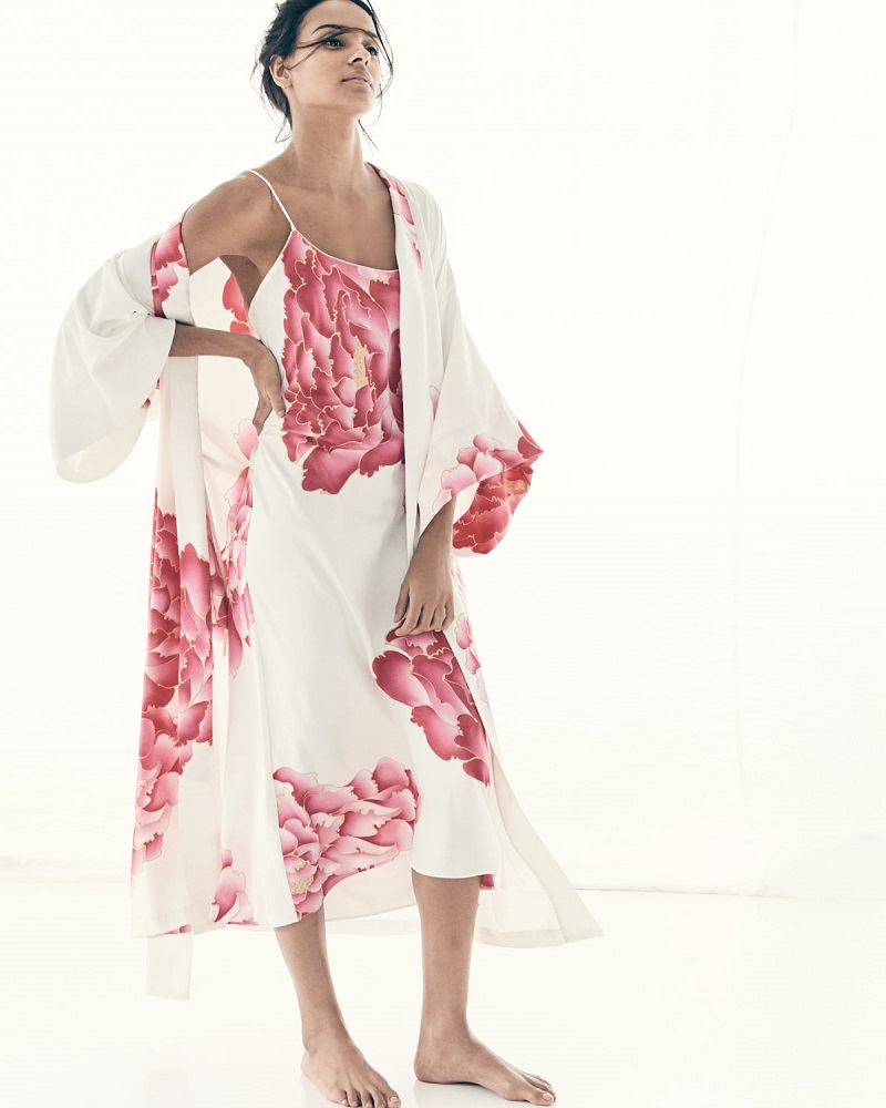 Natori Peony Long Satin Nightgown