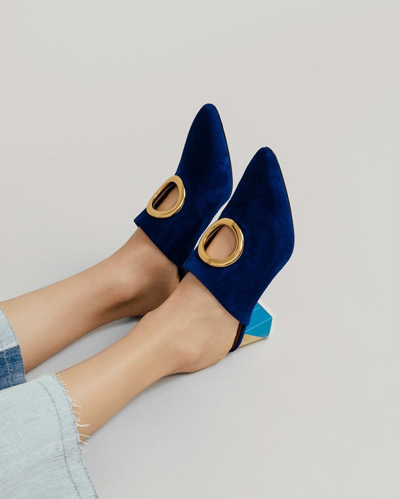 Neous Pointed Toe Mule with Metal