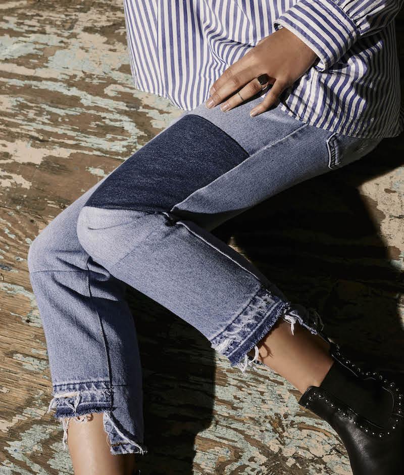 Nili Lotan Franki Patchwork Crop Jeans