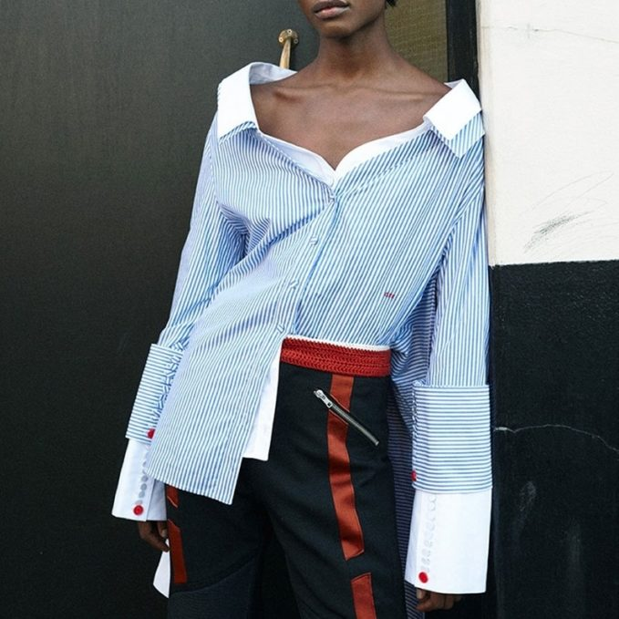 Off-White Off-the-shoulder striped shirt