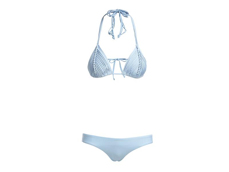 PilyQ Isla Solid Braided Triangle Swim Top