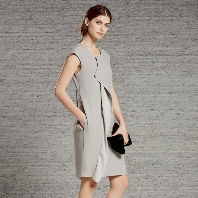 REISS Soft Khaki Cora Shift Dress