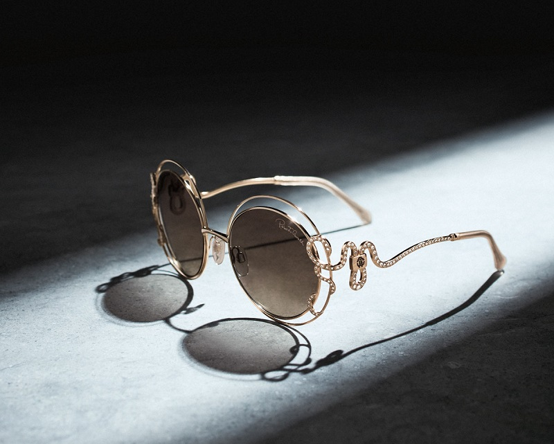Roberto Cavalli Round Open-Inset Snake Sunglasses