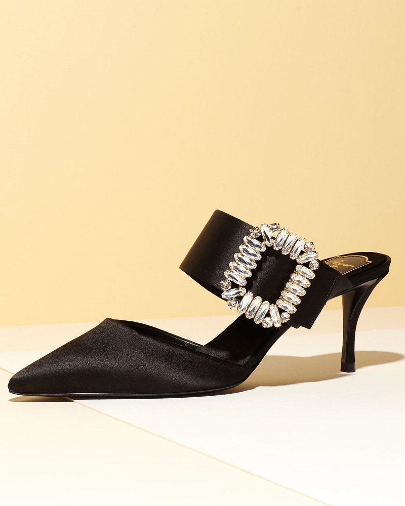 Roger Vivier Strass-Buckle Pointed-Toe 65mm Mule