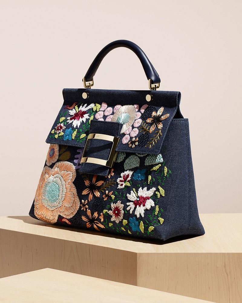 Roger Vivier Viv Cabas Medium Denim Top-Handle Satchel Bag