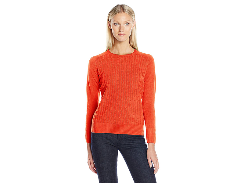 Sag Harbor Crew Neck Cable-Front Pullover Cashmerlon Sweater