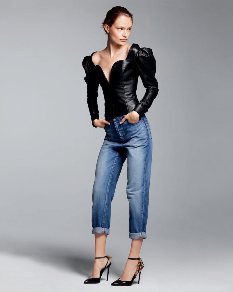 Saint Laurent Puffed-Sleeve Leather Top