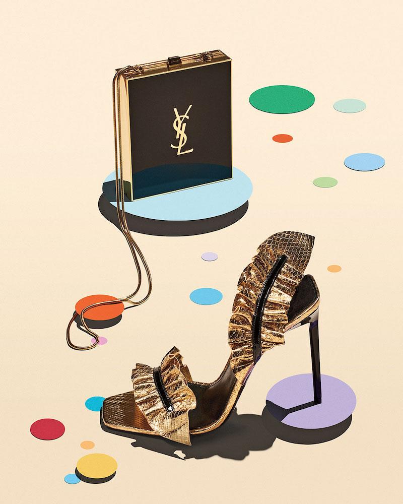 Saint Laurent Ruffled Snakeskin 110mm Sandal