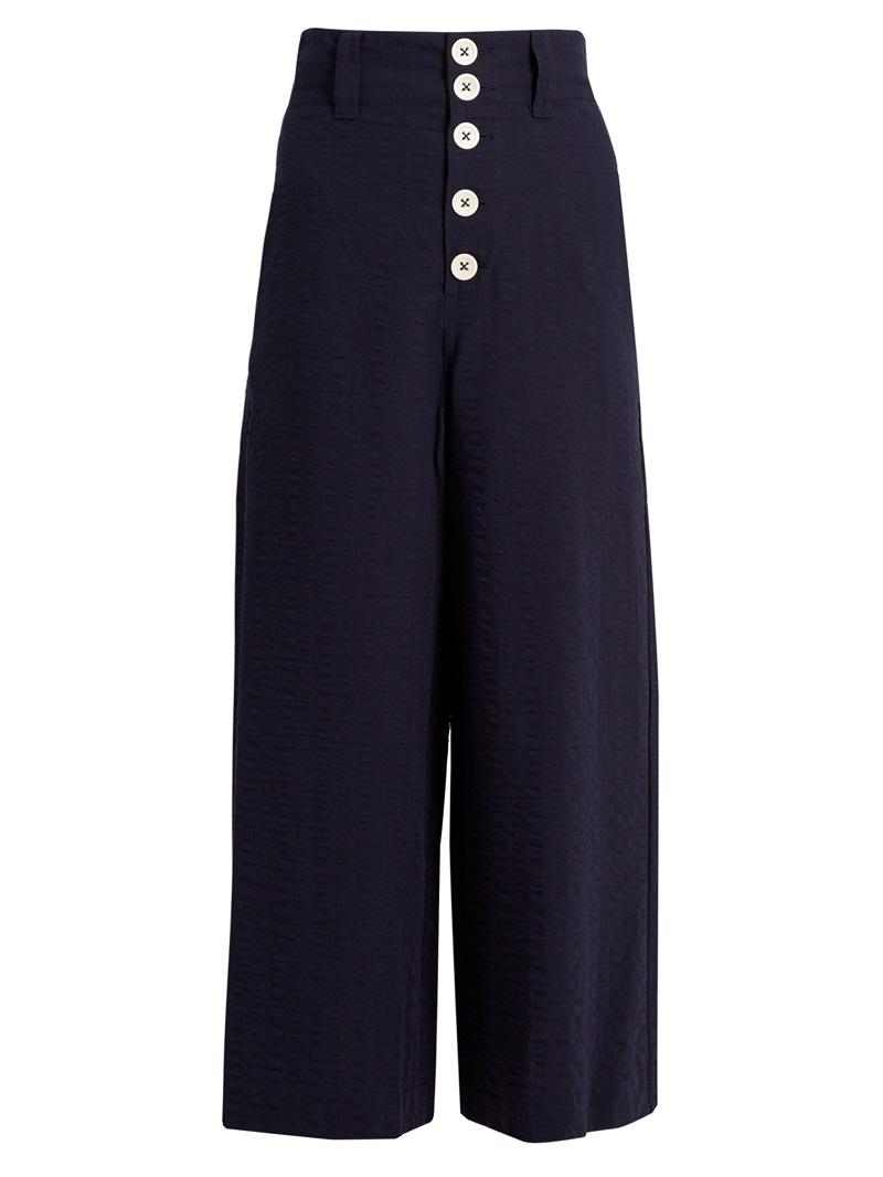 See By Chloé Wide-leg seersucker trousers