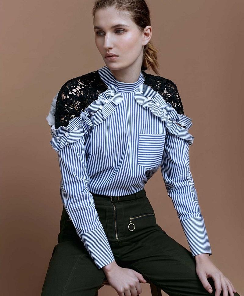 Self-Portrait Cutout-sleeve lace-panel striped shirt