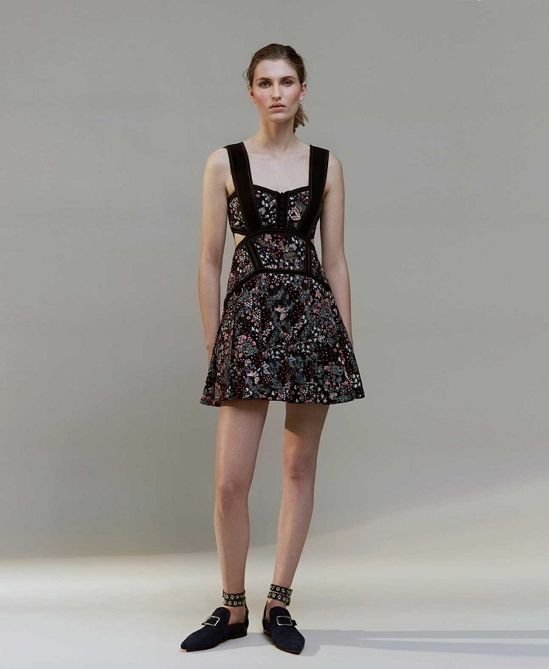 Self-Portrait Floral-jacquard mini dress