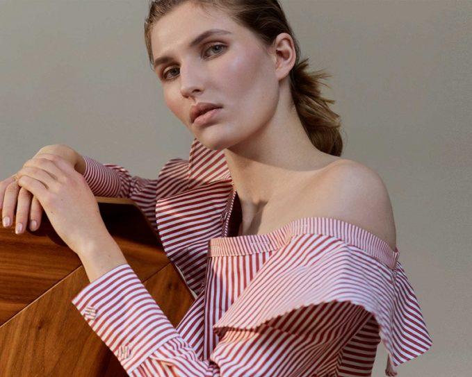 Self-Portrait One-shoulder fluted-panel striped shirt top