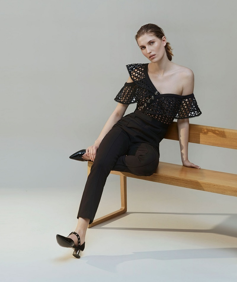 Self-Portrait One-shoulder lace-bodice jumpsuit